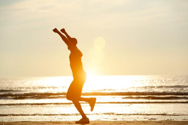 Running on the beach celebration