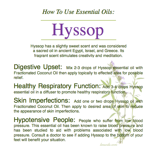 How to use Hyssop essential oil
